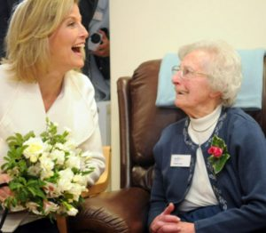 HRH The Countess of Wessex with Phyllis Lewis aged 102  (patient at Pine Lodge Daycare Centre)