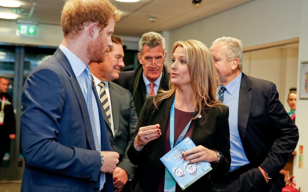 HRH Prince Harry prior to the Namibia vs. Georgia game at the home of Exeter Chiefs