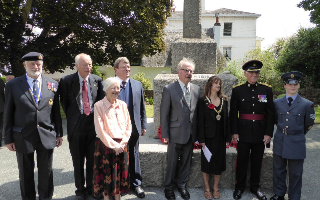 Major Colin Pape, MBE, Deputy Lieutenant unveiled a plaque in Dawlish 28th June 2019