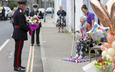 Brigadier Simon Young DL along with the Navy Personnel Surprise World War Two Veteran On Her 100th Birthday