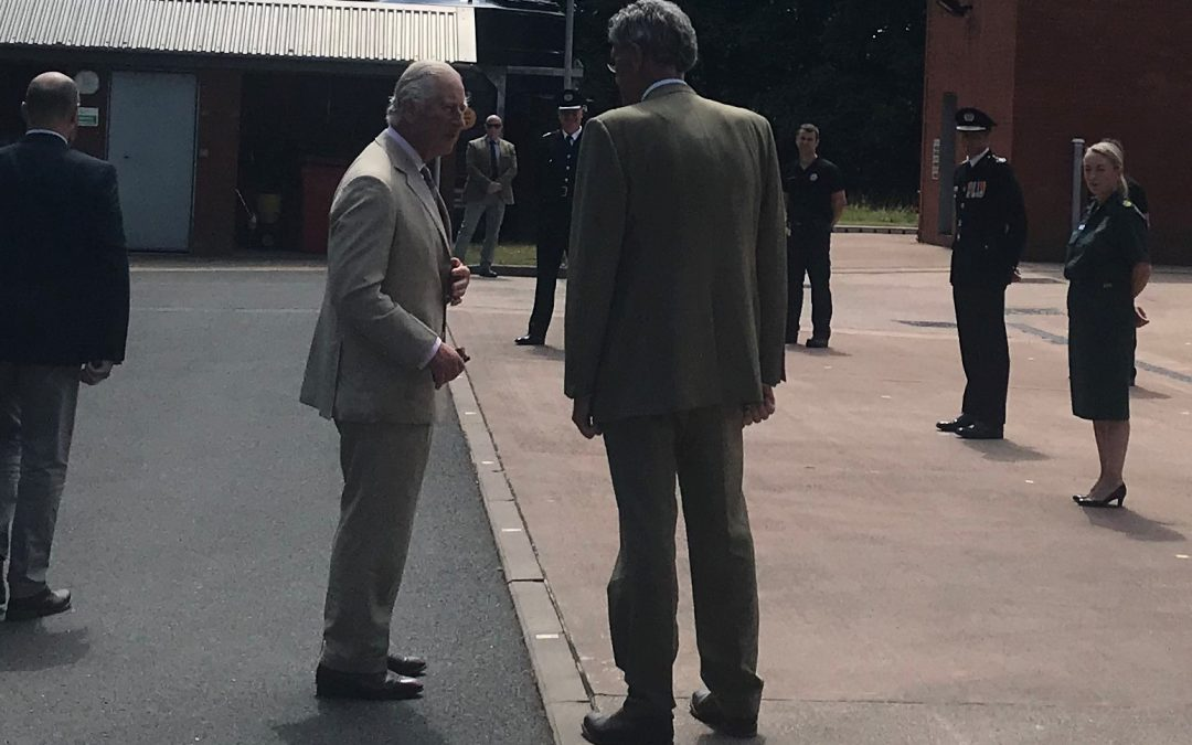 HRH Prince Charles visits Middlemoor Fire Service HQ 22nd July 2020